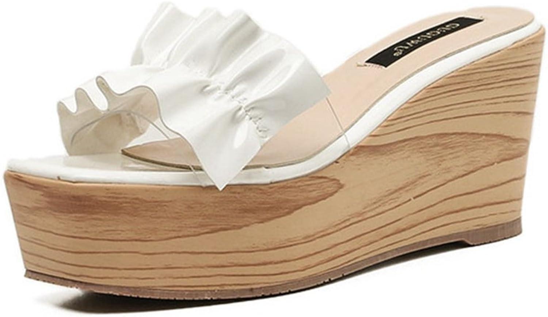 GIY Women Peep Toe High Wedge Slip on Anti-Slip Cork Platform Slides Sandal