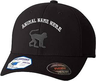 Custom Flexfit Baseball Cap Monkey B Embroidery Animal Name Polyester Hat