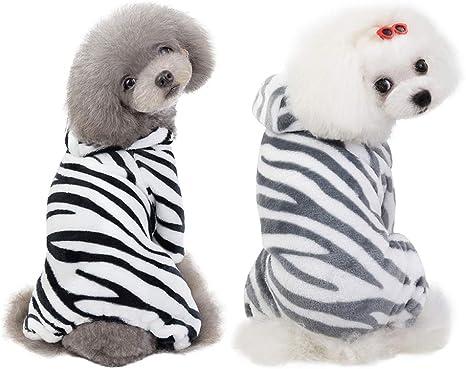 Handfly Mono de Pijama para Perro, Pijama de Cebra de Lana de Coral para Cachorros, suéter para Gatos pequeños para Perros, Jersey, Abrigo
