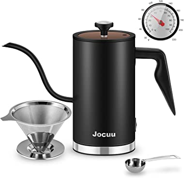 Gooseneck Kettle Electric, Jocuu Electric Coffee Kettle Tea kettle with Thermometer, Electric Kettle Pour Over Kettle for Boiling Water Coffee and Tea Brewing, Quick Heating, 17Oz/0.5L, Matte Black