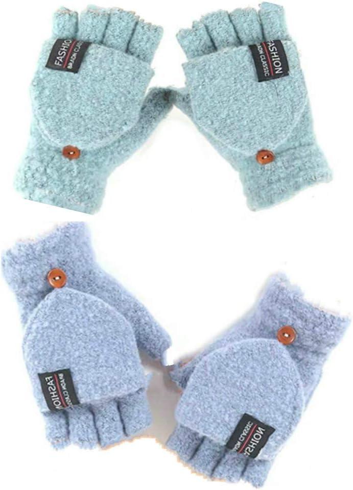 Women's & Men's USB Heated Gloves Knitting Hands Full & Half Heated Fingerless Heating Warmer with Button Washable Design, Mitten Winter Hands Warm Laptop Gloves [2 Pack] (Mint+Blue)