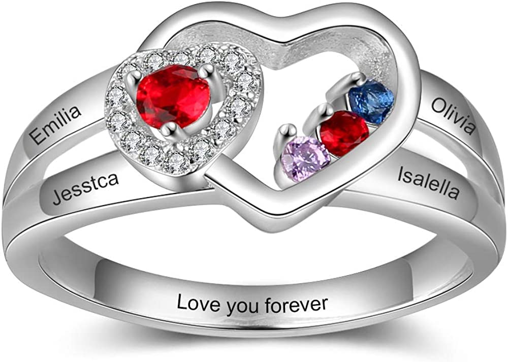 Personalized 4 Simulated Max 50% OFF Birthstone Mothers Heart Ring Na Inventory cleanup selling sale Custom