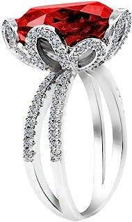 Uloveido أنثى فريدة جميلة زهرة حمراء خاتم الخطوبة الزفاف - سحر خلق العقيق الماس والمجوهرات للنساء (مقاس 6 7 8 9 10) RJ212
