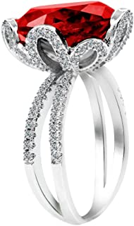Uloveido Female Unique Beautiful Red Flower Engagement Wedding Ring - Charm Created Garnet Diamond Jewelry for Women (Size...