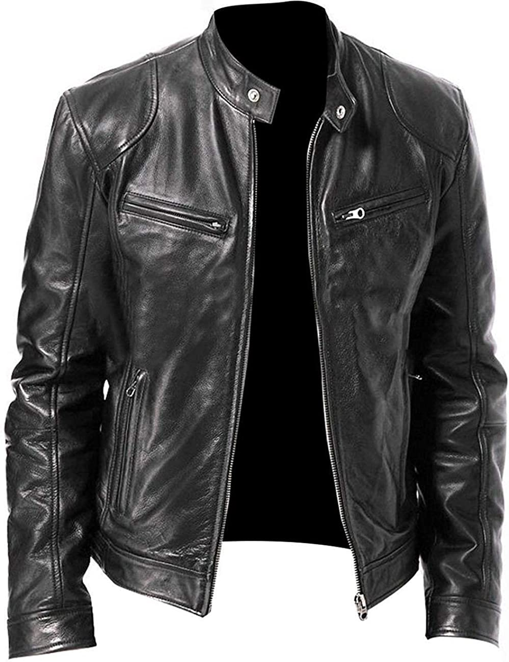 Men's Pu Faux Leather Minneapolis Mall Challenge the lowest price Sword Jacket Lightweigh Black Collar Stand