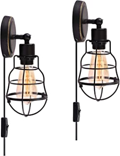 Wire Cage Industrial Wall Sconce Plug-in Wall Light Vintage Style Edison E26 Base for Headboard Bedroom Nightstand, Porch or Bathroom Vanity (Set of 2)
