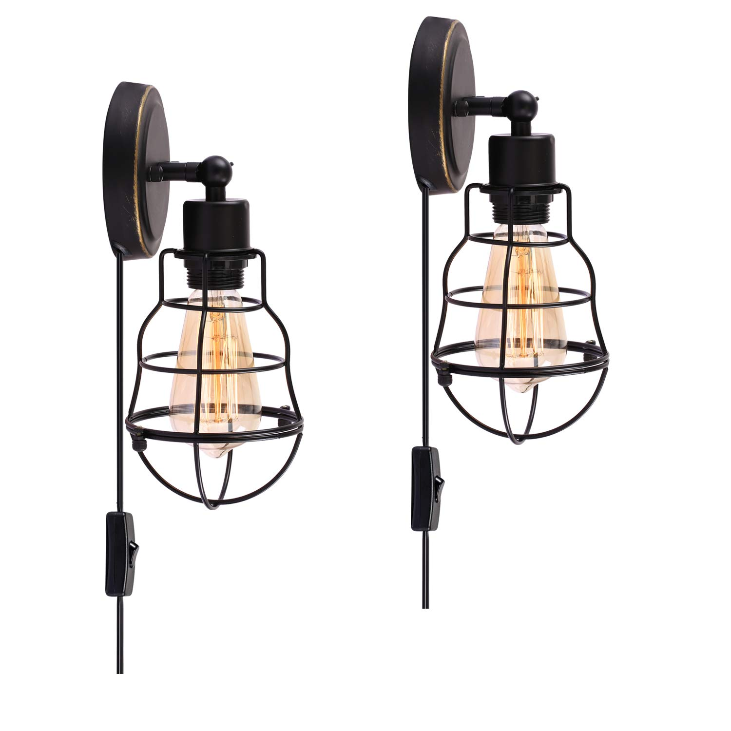 Creatgeek Industrial Charlotte Mall Wire Cage Rustic Wall San Jose Mall or Sconce Har Plug-in
