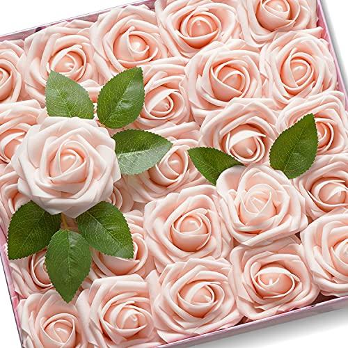 KONCHILE Artificiali Rosa Aspetto Reale Fiori Artificiali con Stelo per DIY Matrimoni Mazzi Nuziale Festa Casa Stanza Decorazioni Baby Shower(25pz, Rosa)