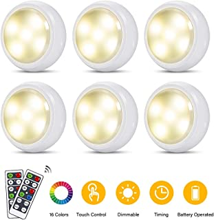 LED Puck Light with Remote Control - RGB Color Changing LED Under Cabinet Lighting - Battery Powered Touch Control LED Closet Lights for Kitchen Living Room (6 Pack)