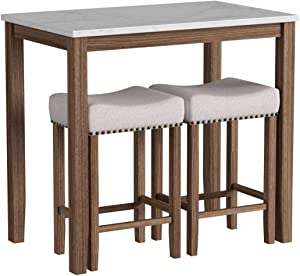 Nathan James Viktor Dining Set Kitchen Pub Table Marble Top Fabric Seat Wood Base, Beige/Brown