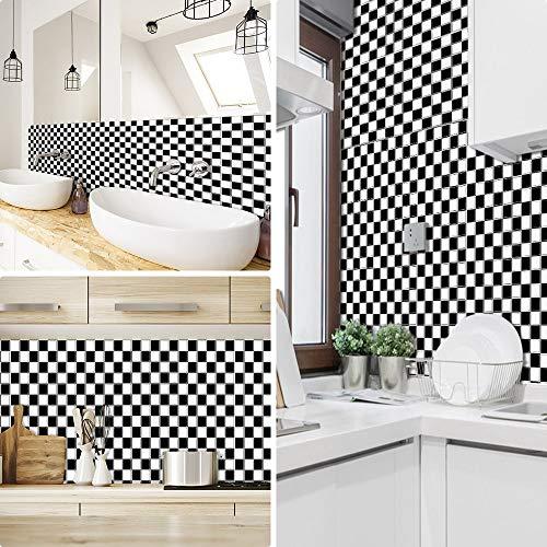 Pegatinas de azulejos para cocina Mosaico baños ladrillo escaleras suelo 20x20 cm, Blanco negro papel simulación rueba de aceite vinilo autoadhesivo impermeable baldosas hidraulicas Actualizar