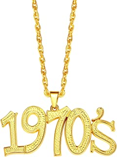 NYUK Disco Necklace 1970's/1980's Pendant Gold Chain 70s Costumes for Women
