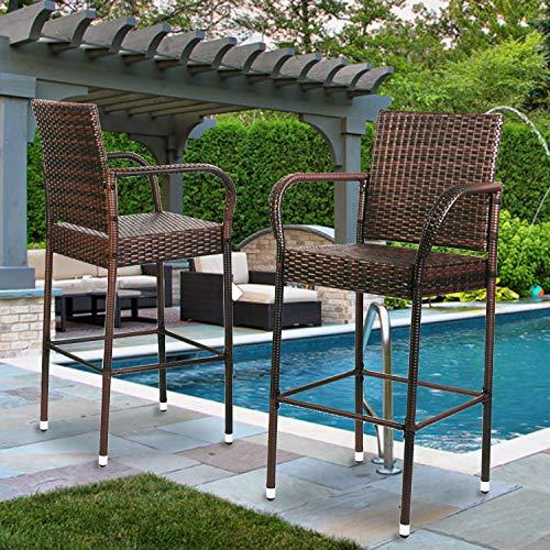 Aoxun Patio Indoor Outdoor Wicker Bar Stool Furniture Bar Stool for Patio, Pool, Garden, 2-Piece Brown