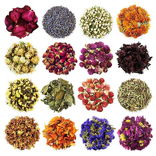 Romanlor Dried Flower Herbs Kit - 240grams Natural Dried Flowers for Candle Making, Soap, Resin Jewelry Making, Bath Bombs, Floral Water - Rosebud, Lavender, Jasmine and etc.(16 Bags / 0.5 oz Each)