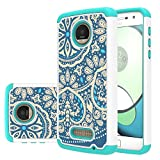 Moto Z Play Droid Case,LEEGU [Shock Absorption] Dual Layer Heavy Duty Protective Silicone Plastic Cover Case for Motorola Moto Z Play Droid - Blue Flower