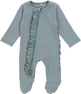 بيجامة للنوم من HoneyKid للأطفال الرضع من القطن بسحاب أمامي، بأكمام طويلة من عمر 0-6 أشهر
