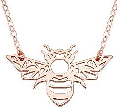 SENFAI Honey Bee Charm Pendant Necklace Women Jewelry 3 Tone 18