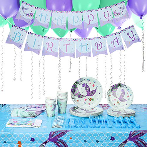 Mermaid Birthday Party Supplies for Kids,Serve 20 Guests -203 Pcs,TWING Birthday Decorations Includes Balloons,Plates,Spoons,Knives,Forks,Straws,Cups,Tablecloth,Napkins,Happy Birthday Bannner,Candy Bags