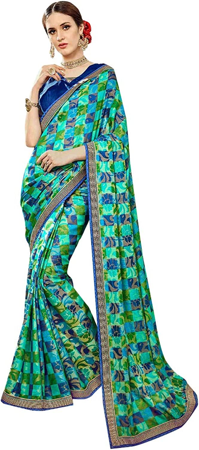 Festive Multicolor Indian Designer Traditional Printed Saree Women Sari with Blouse piece Party wear collection 7833