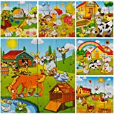 PROW® Bloque de Cubo de Madera 16pcs Bloques de Rompecabezas de Madera Animales de Granja Rompecabezas Bloques de construcción no tóxicos para niños pequeños y niñas