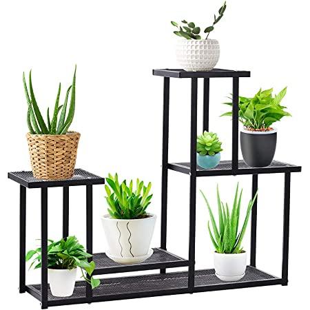 Plant Stand, 4 Tiers Multifunctional Plant Stands for Indoor Plants, Decorative Black Steel Plant Shelf for Indoor Outdoor Patio Garden Balcony and Yard