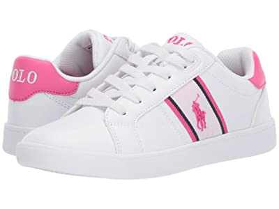 Polo Ralph Lauren Kids Quigley (Big Kid) (White Smooth/White/Baja Pink/Baja Pink Pony) Girl
