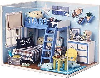 Wooden Block Dollhouse DIY Miniature House Model LED Furniture Kit for Home Decoration Artwork Gift (Color : Multi-Colore...