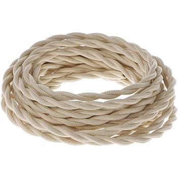 Color Blanco Secci/ón 3/X 2,50 Cable el/éctrico trenzado//Hilo trenzado revestido de tela