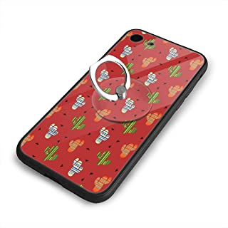 Compatible with iPhone 7 Case/iPhone 8 Case Mexican Cactus Plant Red TPU Soft Shell Resistant Cover Case with Rotating Ring Stand