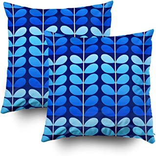 Musesh Pack of 2 mid Century Danish Leaves Navy and Cobalt Blue Cushions Case Throw Pillow Cover for Sofa Home Decorative Pillowslip Gift Ideas Household Pillowcase Zippered Pillow Covers 18X18Inch