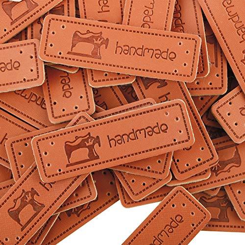 VINFUTUR 100pcs Etiquetas Handmade Cuero Etiquetas Personalizadas Hechas a Mano con Agujero para Costura Tejido Manualidad Artesanía DIY
