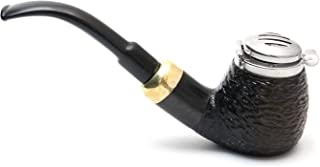 Mr. Brog Full Bent Smoking Tobacco Pipe - Model No: 21 Old Army Ebony Rusticated - Pear Wood Roots - Hand Made