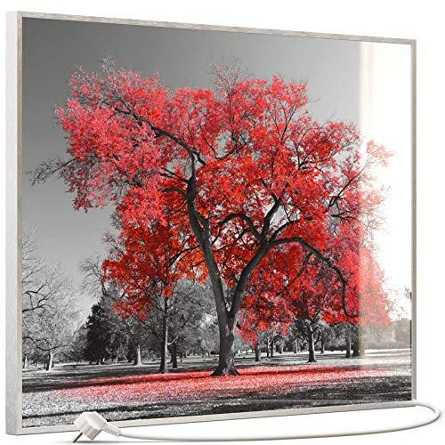 STEINFELD Heizsysteme® Glas Bild Infrarotheizung inklusive TS 20 Thermostat   Made in Germany   Motive 010 roter Baum (500 Watt, silber/Alu)