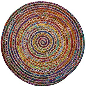 The Indian Arts Fair Trade Rotondo Cotone/Iuta Intrecciato Tappeto Materiali riciclati, Tessuto, 120cm Diameter