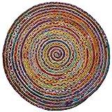 Alfombra Redonda de algodón / Yute Trenzado de Comercio Justo (120 cm de diámetro)