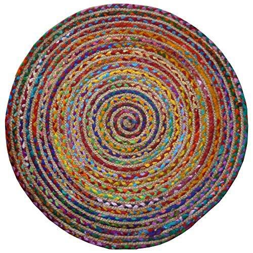 Indian Arts Runder Teppich, geflochten, Baumwolle / Jute, Fair-Trade, aus recycelten Materialien, bunt 90cm Diameter mehrfarbig