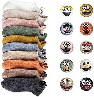 N / A, Calcetines bordados 10 pares de las mujeres de la historieta, calcetines divertidos del tobillo lindo de la expresión de la moda