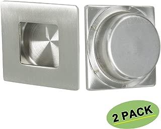 Square Flush Pull Sliding Closet Door Finger Pull 2 Pack - Homdiy MC009 Recessed Kitchen Cabinet Handles Pulls Brushed Nickel Sliding Closet Door Handle