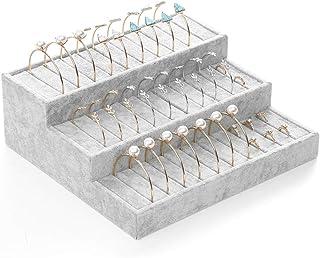 Coward Velvet 3 Tier Rings Bracelet Display Stand Bangle Showcase Jewelry Holder Organizer (Velvet)