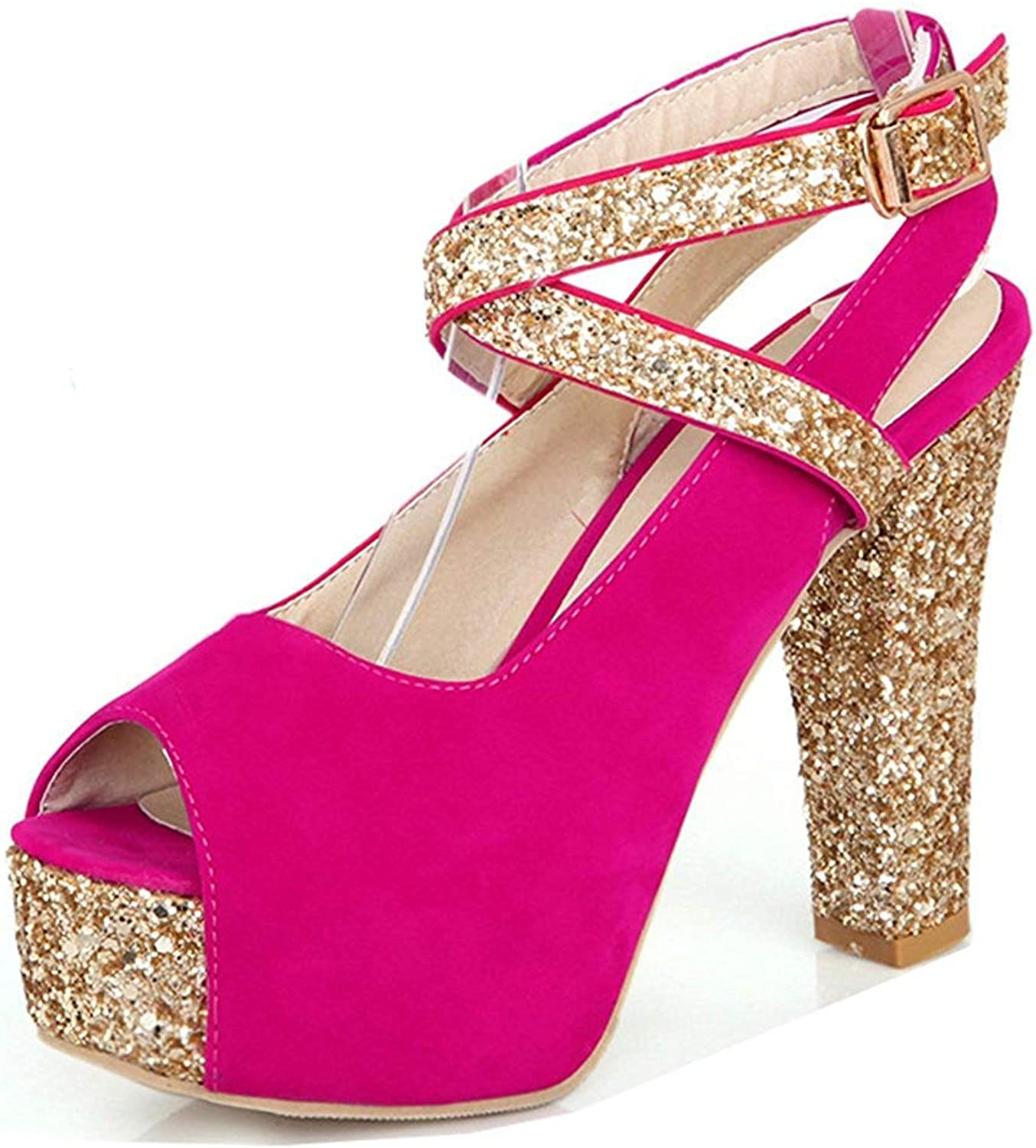 Unm Women's Platform Sandals with Ankle Strap - Peep Toe Buckled Chunky - High Heel Bling Sequin