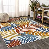 JONATHAN Y Tropics Palm Leaves Indoor/Outdoor Cream/Orange 5 ft. x 8 ft. Area Rug, Outdoor, Easy Cleaning, For High Traffic, Kitchen, Living Room, Backyard, Non Shedding