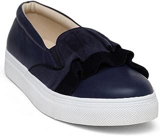 KANABIS Women's Velvet Touch-Blue Fashion Sandals