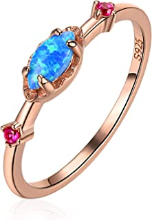 EVBEA Opal Ring Rose Gold Promise Engagement Cubic Zirconia Wedding Band Sterling Silver Rings for Women