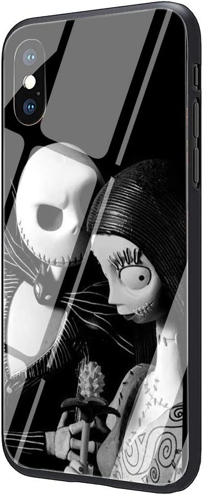 Jack Skellington Tempered Glass Phone Case Cover for iPhone X Xs Max XR 8 7 6 6S Plus (G9,for iPhone 7 8)