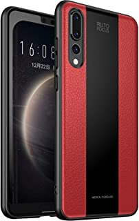 Huawei P20 Pro Case, [Stitching Series] Soft Silicone Bumper and Border Tempered Glass Back Cover Stitching PU Leather