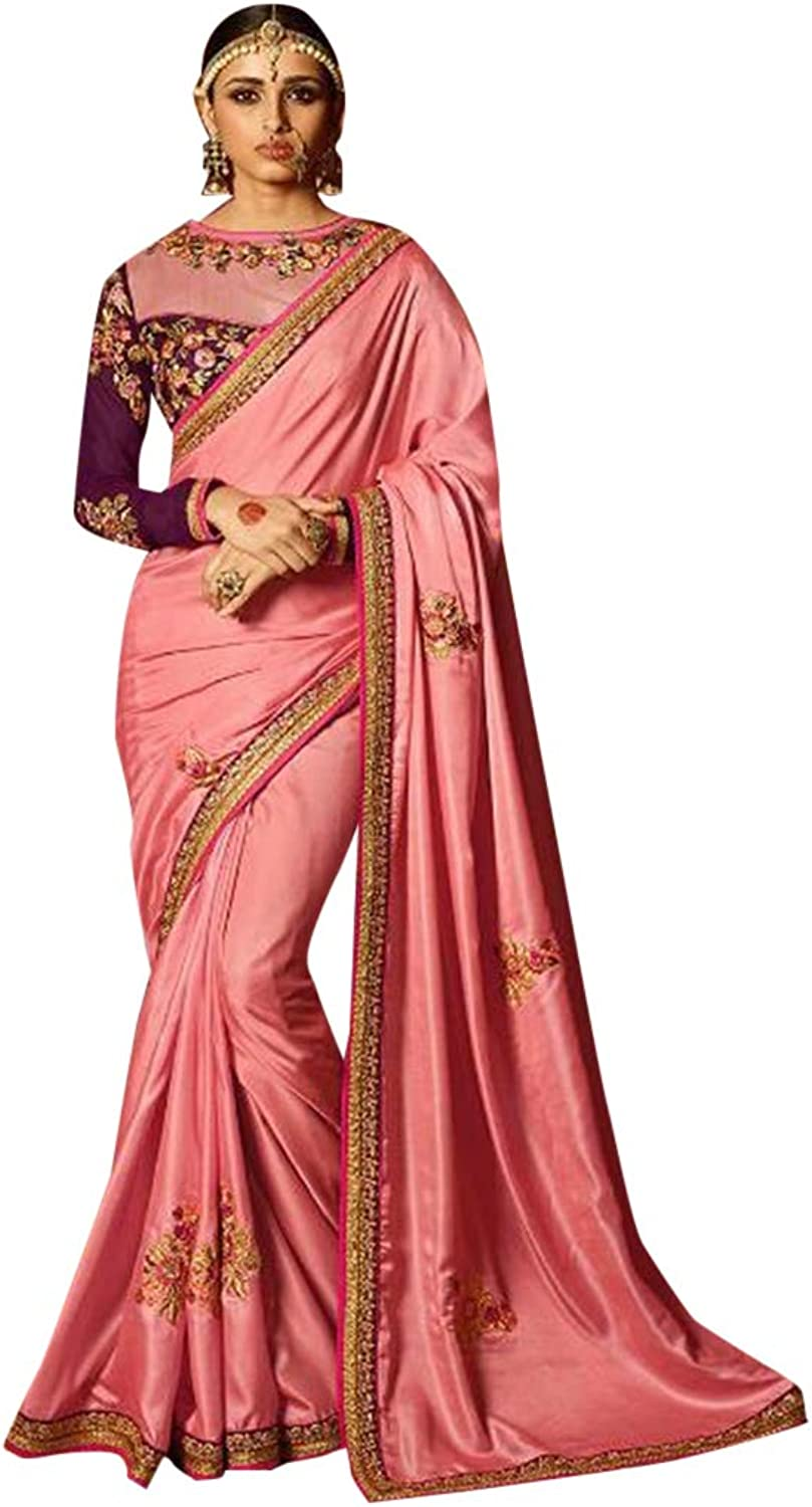 Designer Border with booty saree with heavy blouse hit combination sari women wrap indian ethnic dress 7380