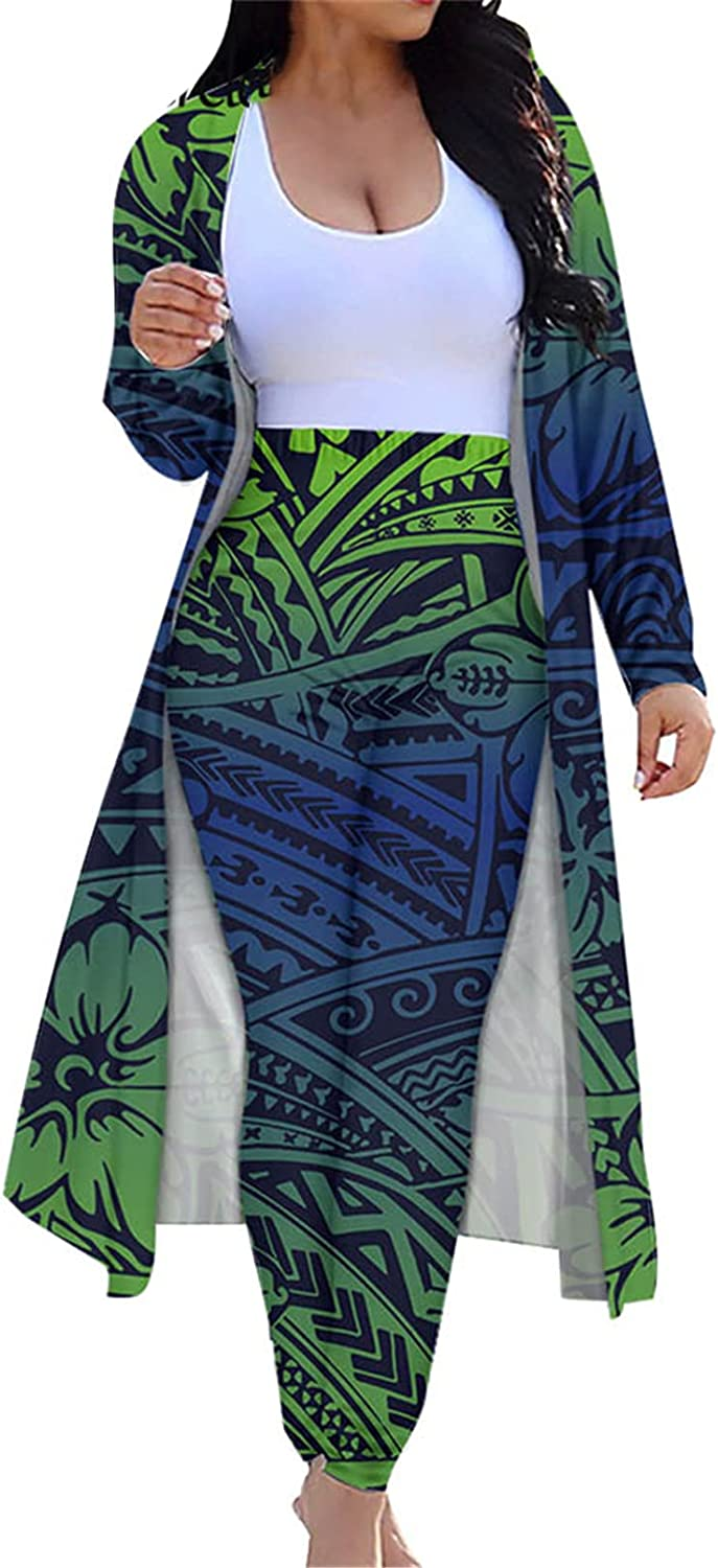 Polynesain Tribal Cardigan and Pants 2 Piece Outfit Poly Tattoo Floral Print Casual Suit