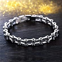 Nadeejewelry Napafashion Womens Mens Motorcycle Bike Bicycle Chain Design Silver Stainless Steel Bracelet