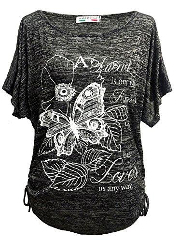 Emma & Giovanni - T-Shirt/Oberteile Kurzarm Schmetterlinge - Damen (# Schwarz, XL)