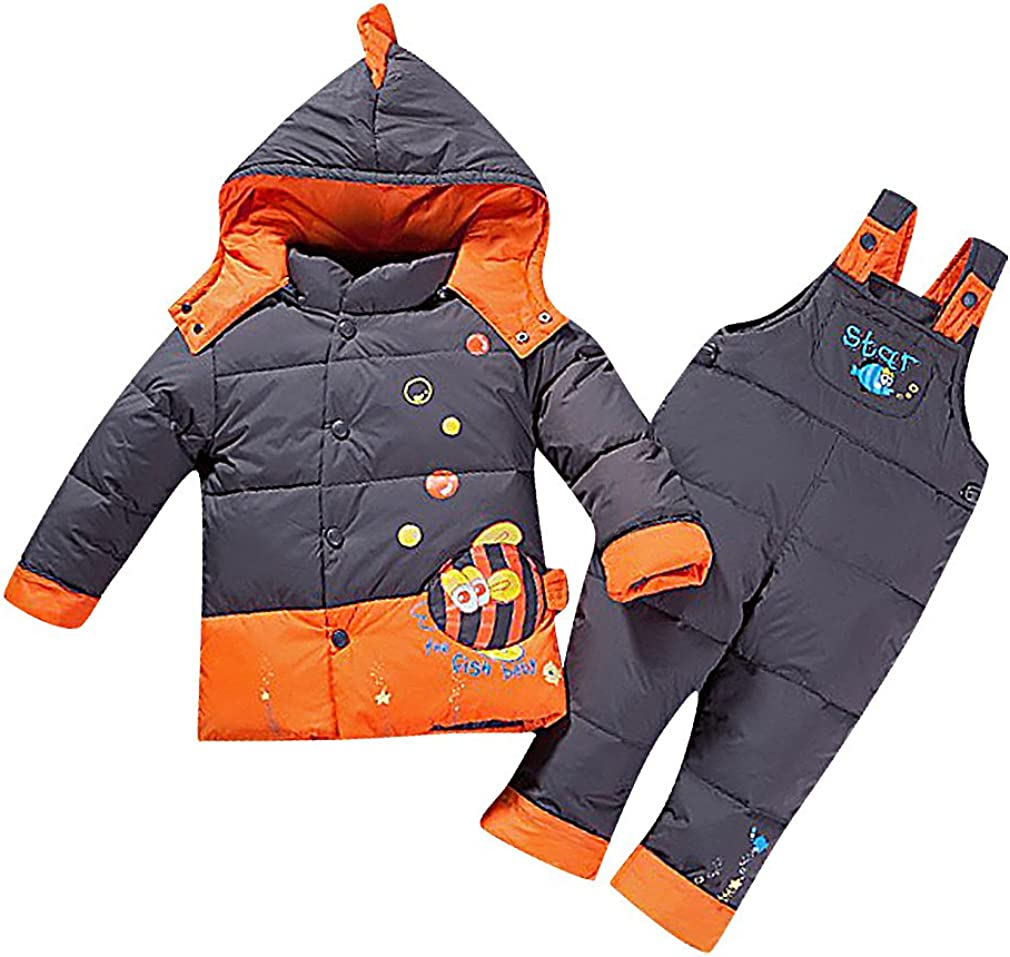 Sweety Kids' Quilted Horse Print & Appliques Hooded Duck Down Jacket & Pants